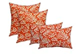Resort Spa Home Set of 4 Indoor Outdoor Pillows - 2 Square Throw Pillows & 2 Rectangle/Lumbar Throw Pillows - Mandarin Orange and White Coastal Ocean Coral Reef - Choose Size (17'' & 11'' x 19'')