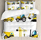 MIGAGA Boy's Room Duvet Cover Set, Cartoon Style Heavy Machinery Truck Crane Digger Mixer Tractor Construction, Decorative 3 Piece Bedding Set with 2 Pillow Shams (King)
