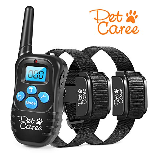 - PET CAREE Dog Training Collar, 100% Rainproof Rechargeable Electronic Remote Dog Shock Collar 330 Yards with Beep/Vibrating/Shock Electric E-Collar