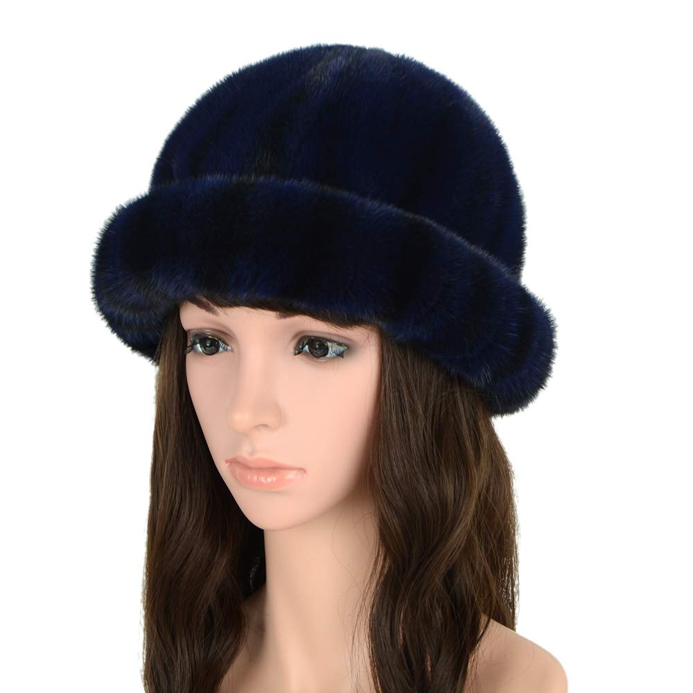 MH Bailment Women's Winter Fur Bucket Hat with Real Mink Fur Thick Stripes Hats (M, Dark Blue) by MH Bailment