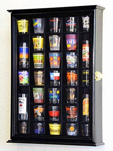 31 Shot Glass Shotglass Shooter Display Case Holder Cabinet Wall Rack -Black