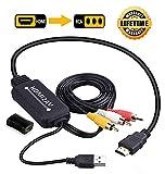 JBingGG HDMI to RCA Cable Converter HDMI to AV Converter 1080P 3RCA CVBs