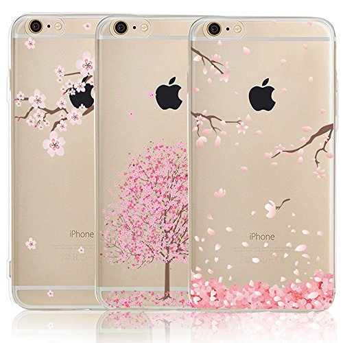 iPhone 6 6S Case with Flowers, [3-Pack] CarterLily Watercolor Flowers Floral Pattern Soft Clear Flexible TPU Back Case for iPhone 6 6S 4.7'' - Cherry - Blossom Cherry Phone