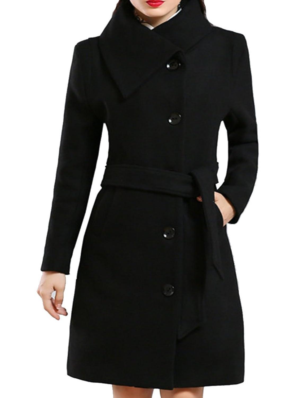 Helan Damen Lange Elegent Special Design Woll Gurtel Trench Coat EU