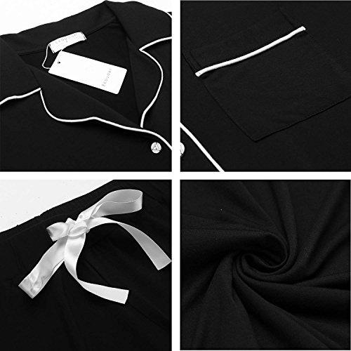 Ekouaer Black Pajama Set Girl's Soft Sleepwear Pj Set(Black, Small)