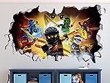 Lego Ninjago Smashed 3D Wall Decal Sticker Vinyl Decor Door Window Poster Mural Movie Games - Broken Wall - 3D Designs - R02 (Giant (Wide 50'' x 30'' Height))