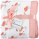 Flamingo Baby Blanket - Bamboo Muslin Stroller Blanket - Oversized 47'' x 47'' - 2 Layers Muslin Toddler Blankets for Baby Girl (Flamingo)