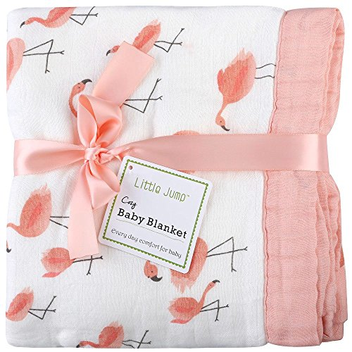 """Muslin Stroller Blanket - """"Flamingo Print"""" Bamboo Everything Blanket - Oversized 47"""" x 47"""" - 2 Layers Toddler Blanket for Baby Girl (Flamingo) from LittleJump"""