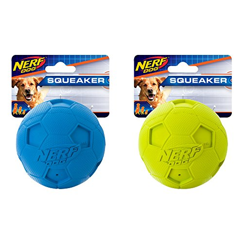 Nerf Dog 3.25in Soccer Squeak Ball 2-PACK: Blue and Green, Dog Toy