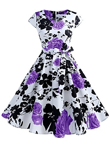 IVNIS RS90013 Women's Vintage 1950s Floral Print Cap-Sleeve Rockabilly Prom Dresses with Pockets Purple Flower (Print Vintage Costumes)