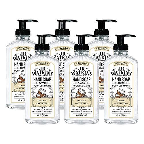J.R. Watkins Hand Soap, Gel, 11 fl oz, Coconut (6 pack)