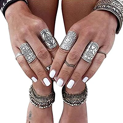 Misscat Bohemian Vintage Punk Ethnic Silver Rings for Women Joint Knuckle Ring Set 4pcs