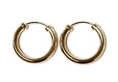 9ct Gold 18mm Hoop Sleeper earrings 5EkIOUKs