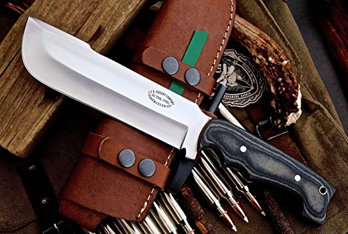 CFK Cutlery Company USA Custom Handmade D2 Tool Steel Micarta Large  Bushcraft Hunting Skinning Camping Knife with Horizontal Leather Sheath &