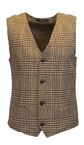 Walker & Hawkes - Mens Classic Scottish Harris Tweed Overcheck Country Waistcoat Vest - Desert Tan - 44 ()
