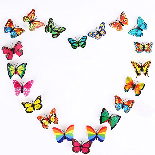 NERLMIAY 6 PCS Creative Flashing Colorful Butterfly Night Light Stickers Wall Stickers Lamp LED Decorative Night Lights Random (Pottery Barn Outlets Online)