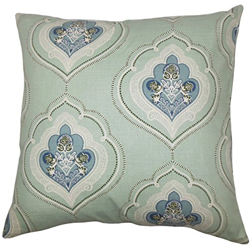 - The Pillow Collection P18FLAT-D-21078-SEAGREEN-C95L5 Aafje Floral Throw Pillow Cover, 18
