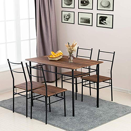 Mecor 5 Piece Dining Table Set, Vintage Wood Tabletop Kitchen Table w/ 4 Chairs with Metal Frame, Brown