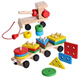 Wooden Toys Train Stacking Blocks Toys Wooden Train Truck Geometric Blocks Educational Toys for Toddlers - Baby Development Building Blocks Pull Toys for Kids Childrens - Kids Color Learning Toys
