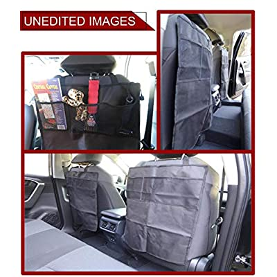 EcoNour Seat Back Protectors - Car Kick Mats with 2 Mesh Pockets, Premium Waterproof Fabric, Reinforced Material -Protects Leather & Cloth Seats from Dirt Scuffs & Scratches (2 Pack): Baby