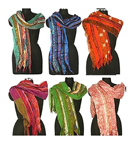 Mango Gifts Women's Lot of 10 Silk Sari Fabric Handmade Scarves Scarfs Wholesale Lot (Sari Scarf)