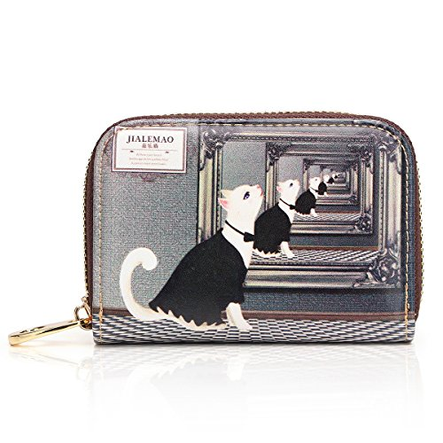 APHISON RFID Credit Card Holder Wallets for Women Leather Cartoon Patterns Zipper Card Case for Ladies Girls/Gift Box 017