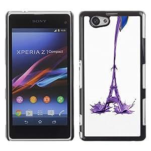 Be Good Phone Accessory // Dura Cáscara cubierta Protectora Caso Carcasa Funda de Protección para Sony Xperia Z1 Compact D5503 // Eiffel Tower Milk Abstract