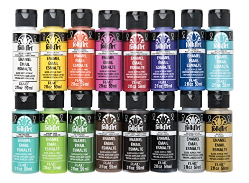 FolkArt PROMOGLS16 Enamel Glass Painting Set 16 Pc, 2 Oz