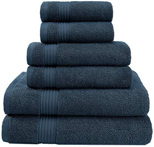 - Premium, Luxury Hotel & Spa, Turkish Towel 100% Cotton 6-Piece Towel Set for Maximum Softness & Absorbency by American Veteran Towel - Navy Blue