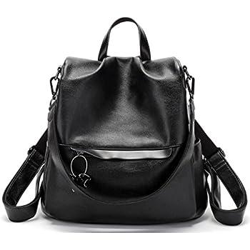 a3aee83552d5 JeHouze Fashion Women Handbag Genuine Leather Backpack Casual Shoulder Bag  Anti-theft purse (Black)