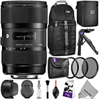 Sigma 18-35mm F1.8 Art DC HSM Lens for NIKON DSLR Cameras w/ Advanced Photo and Travel Bundle