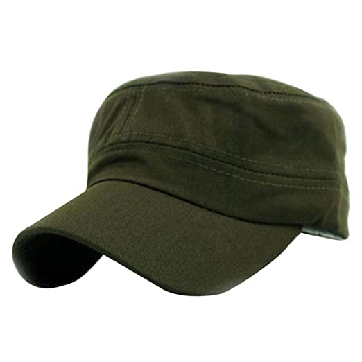 74f927eb36d Amazon.com  Hanican Classic Women Men Hats Plain Vintage Army Military Hat  Cadet Style Cotton Cap Adjustable Flat Hat (Army Green)  Clothing