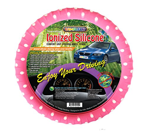 New SILICONE Polka Dot Series Steering Wheel Cover With Negative ion -Limited Edition! By Cameleon Cover - Odorless latex free Ergonomic design and best Comfort! (Pink Polka Dot- White Dot) -