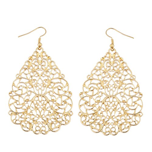 Lux Accessories Goldtone Large Ornate Filigree Teardrop Dangle Fashion Earrings - Gold Tone Duck