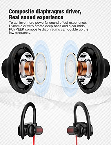 Bluetooth Headphones, Otium Best Wireless Sports Earphones w/Mic IPX7 Waterproof HD Stereo Sweatproof In Ear Earbuds for Gym Running Workout 8 Hour Battery Noise Cancelling Headsets by Otium (Image #4)