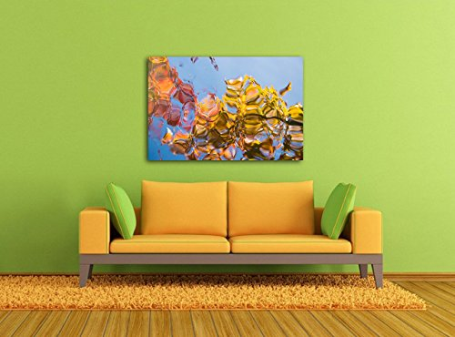 Abstract Photography on CANVAS Autumn Leaves Decor Fall Colors Abstract Print Blue Gold Red Contemporary Wall Art Gift The Oregon Garden Ready to Hang 8x10 8x12 11x14 12x18 16x20 16x24 20x30 24x36 - Silverton Four Light