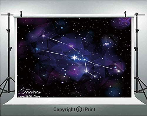 (Taurus Photography Backdrops Zodiac Constellation Star Cluster on Space Galaxy Cosmic Mystic Artsy Design,Birthday Party Background Customized Microfiber Photo Studio Props,5x3ft,Indigo Dark Purple)