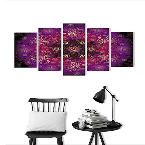 5 Pieces Multiple Pictures Wall Art Frameless Purple Eastern Style Round Embellished Floral Frame with Vivid Moving Branches BohemianImage Perfect Wall ()