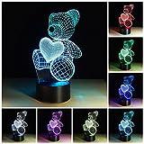 3d Illusion Night Light LED Lamp-Seven Color Changing Cute Love Heart Teddy Bear 3D Night Lamp Desk Lamp for Baby Children Kids Room (Love Bear)