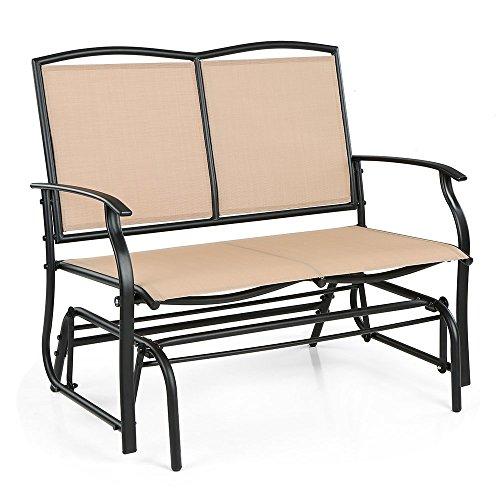 iKayaa 2 Seater Patio Swing Glider Bench Chair Loveseat Textliene Garden Outdoor Rocking Chair Seating Beige
