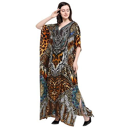 Kaftanish #Brown Viscose Crepe #Leopard Print V Neck Long #Kaftan