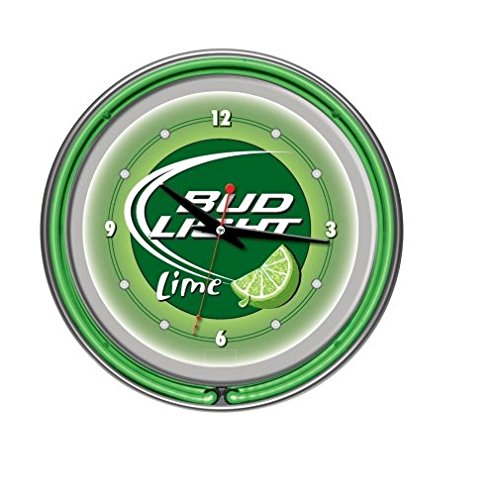 Bud Light Lime Chrome Double Ring Neon Clock, - Neon Light Bud Clock