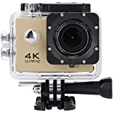 Acouto HD 4k 16P 2 Inch 170°Wide Angle Wifi Action Camera Sport Camera 30m underwater Camcorder DV Recorder with Waterproof Case Accessories Kit (Gold)