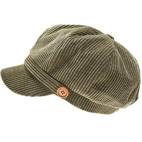 (MIRMARU Women's Classic Visor Baker boy Cap Newsboy Cabbie Winter Cozy Hat with Comfort Elastic Back (Corduroy Olive))