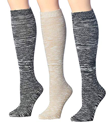 Blend Knee Socks - Tipi Toe Women's 3-Pairs Ribbed Cable Cozy Winter Super Soft Warm Knee High Cotton-Blend Boot Socks, (sock size 9-11) Fits shoe size 6-9, KH03-3