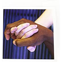 3dRose Interracial Couple Holding Hands Love David R. Frazier Greeting Cards, 6 x 6 Inches, Set of 6 (gc_83230_1)
