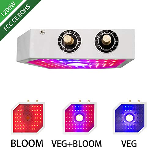 Sammsann COB LED Grow Light 1200W, Adjustable Veg&Bloom Switch Full Spectrum Growing Lamps Double Chips for Indoor Plants Hydroponics Greenhouse Fruits Veg and Flowers (Dual Chip 10W LEDs)