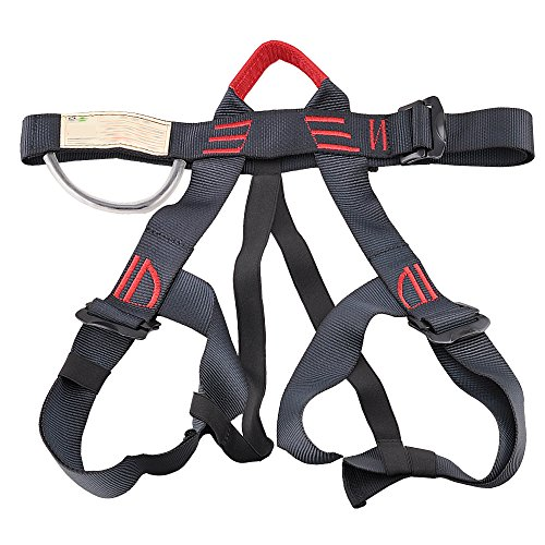 Rock Climbing Harness, Starter Harness For Outdoor Climbing, Rappelling, Rescue, Mountaineering, Caving Descending, Roofers/Tree Working Safety Belt Women Man Child Half Body Guide Harness (Black)