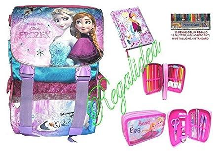 Disney Frozen mochila extensible + Estuche 3 pisos Pieno + Diario + 30 bolígrafos gratis: Amazon.es: Deportes y aire libre