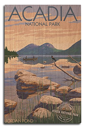 Lantern Press Acadia National Park, Maine - Celebrating 100 Years - Jordan Pond (10x15 Wood Wall Sign, Wall Decor Ready to Hang)